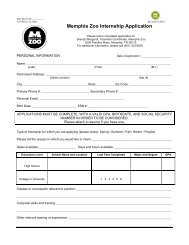 Memphis Zoo Internship Application