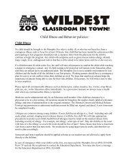 Child Illness and Behavior policies: - The Memphis Zoo