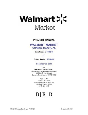 project manual walmart market orange beach, al