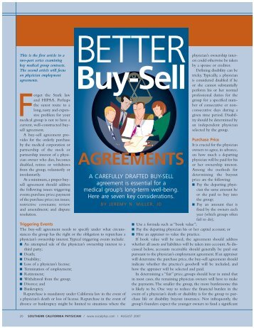 Better Buy-Sell Agreements Southern California Physician, August