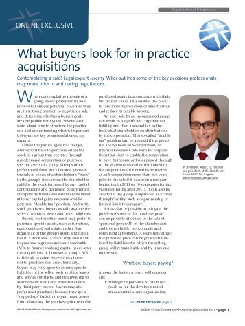 What buyers look for in practice acquisitions - Miller Health Law Group