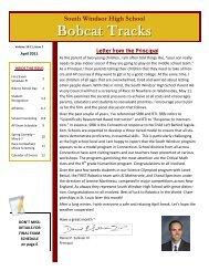 Bobcat Tracks - April 2011 - South Windsor Public Schools