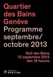 Quartier des Bains Genève Programme septembre/ octobre 2013