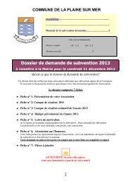 Dossier de demande de subvention 2013 - Site Officiel de LA ...