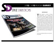 2012 / 2013 READER SURVEY - Stage Directions Magazine