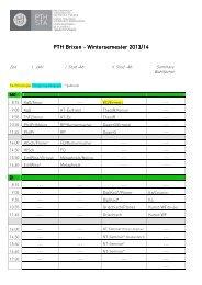 Stundenplan Wintersemester 2013/14.