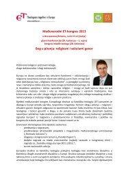 Međunarodni ET-kongres 2013 Bog u pitanju: religiozni i sekularni ...