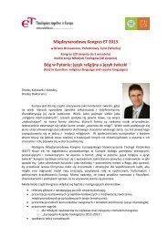 Międzynarodowy Kongres ET 2013 Bóg w Pytaniu: język religijny a ...