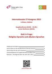 Internationaler ET-Kongress 2013 Gott in Frage: Religiöse Sprache ...