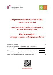 Congrès International de l'AETC 2013 Dieu en question: Langage ...