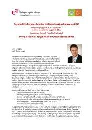 Tarptautinis Europos katalikų teologų draugijos kongresas 2013 ...