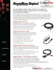 Use the Rapidrun Digital video interface for ... - Cables Plus USA