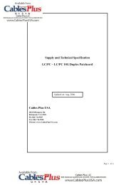 Supply and Technical Specification LC/PC – LC ... - Cables Plus USA