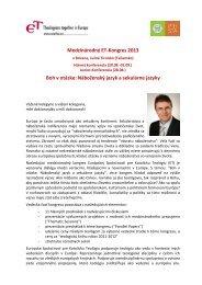 Medzinárodný ET-Kongres 2013 Boh v otázke: Náboženský jazyk a ...