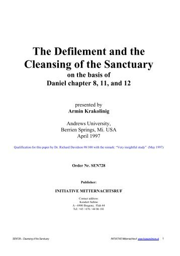 The Defilement and the Cleansing of the Sanctuary - Hopeandmore.at