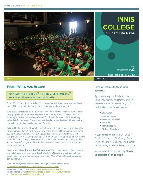 Where Is Life University >> Current Newsletter Innis College Student Life University Of Toronto