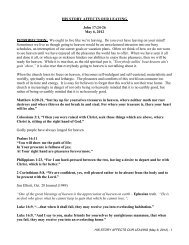 HIS STORY AFFECTS OUR LEAVING John 17:24-26 May 6, 2012 ...