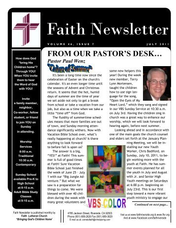 JULY 11 Faith NEWSLETTER.pub - Faith Lutheran Church