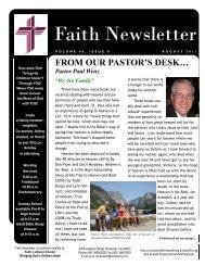 AUGUST 11 Faith NEWSLETTER.pub - Faith Lutheran Church