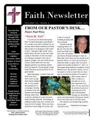 JUNE 11 Faith NEWSLETTER.pub - Faith Lutheran Church