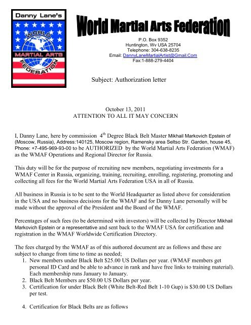 wmaf authorization letter to conduct business - Danny Lane Martial