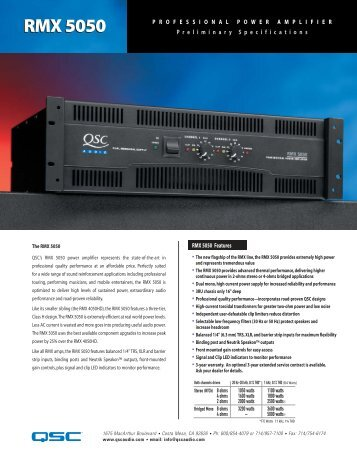 RMX5050 Specifications - Full Compass