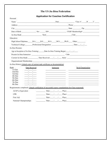 Coaches Certification Application - United States Ju-Jitsu Federation