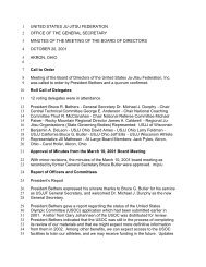 Minutes from the USJJF October 2001 Board of Directors Meeting