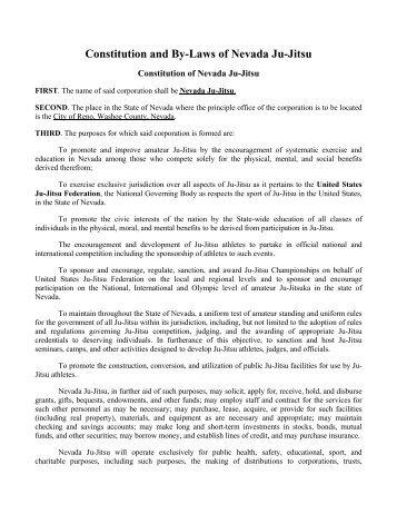 Nevada Ju-Jitsu Constitution - United States Ju-Jitsu Federation