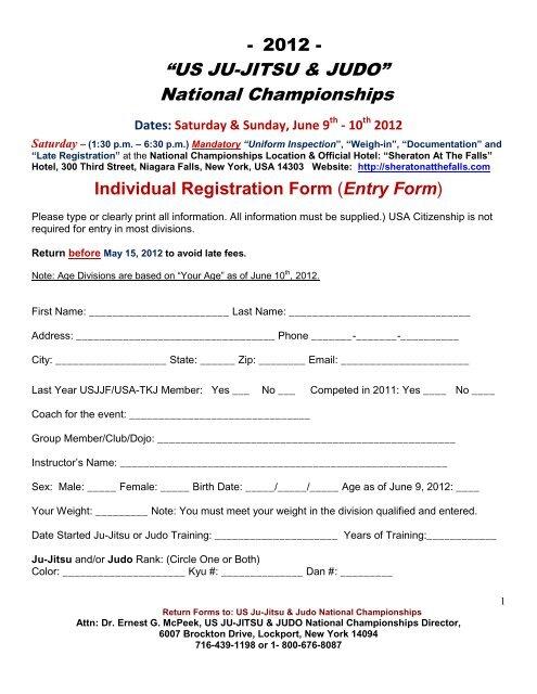 """""""US JU-JITSU & JUDO†National Championships - United"""