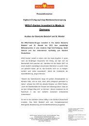WOLF-Garten investiert in Made in Germany