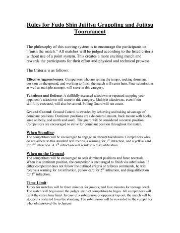 Rules for Fudo Shin Jujitsu Grappling and Jujitsu Tournament