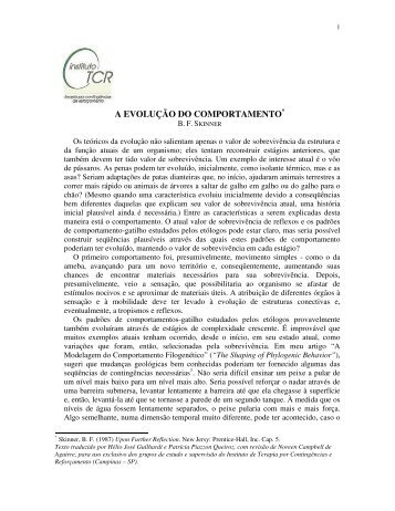 A EVOLUÇÃO DO COMPORTAMENTO* - Instituto de Terapia por ...
