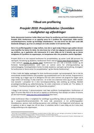 Tilbud om profilering - Norsk senter for prosjektledelse - NTNU