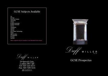 GCSE Prospectus - Duff Miller