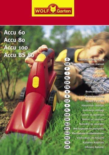 Accu 60 Accu 80 Accu 100 Accu BS 80 - WOLF-Garten NL