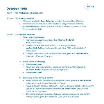 October 19th - Wetsus