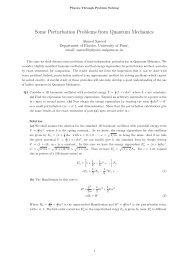 Some Perturbation Problems from Quantum Mechanics