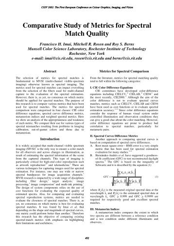 Comparative Study of Metrics for Spectral Match Quality