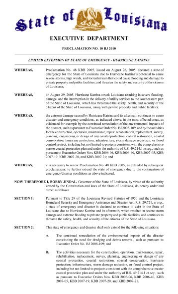 State of Emergency - Hurricane Katrina - Governor Bobby Jindal