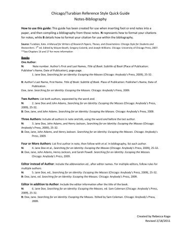 turabian format example Chicago manual of style/turabian paper formatting & style guidelines your teacher may want you to format your paper using chicago manual of style/turabian guidelines if you were told to create your citations in this format, your paper should be formatted using the chicago/turabian guidelines as well.