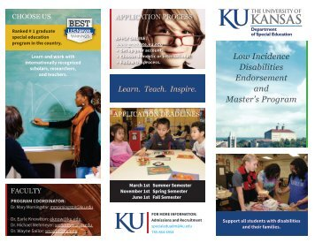 Learn. Teach. Inspire. - Special Education - The University of Kansas