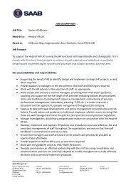 JOB DESCRIPTION Job Title: Senior HR Advisor Reports ... - Seaeye