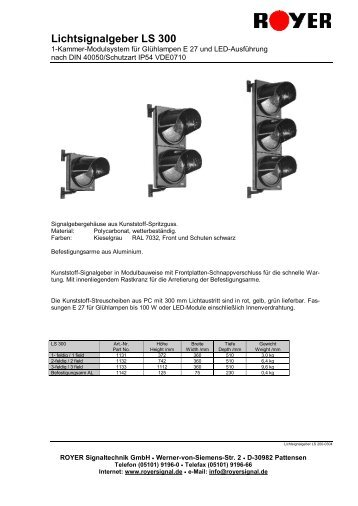 Datenblatt LS 300 - Royer Signaltechnik GmbH