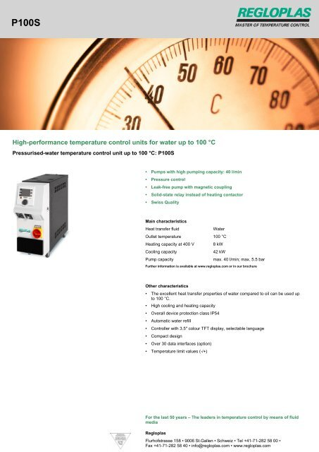 High-performance temperature control units for water up to