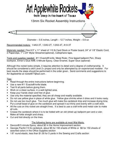 13mm Six Rocket Assembly Instructions - Art Applewhite Rockets
