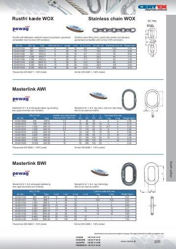 Kæder og komponenter, rustfri - Certex