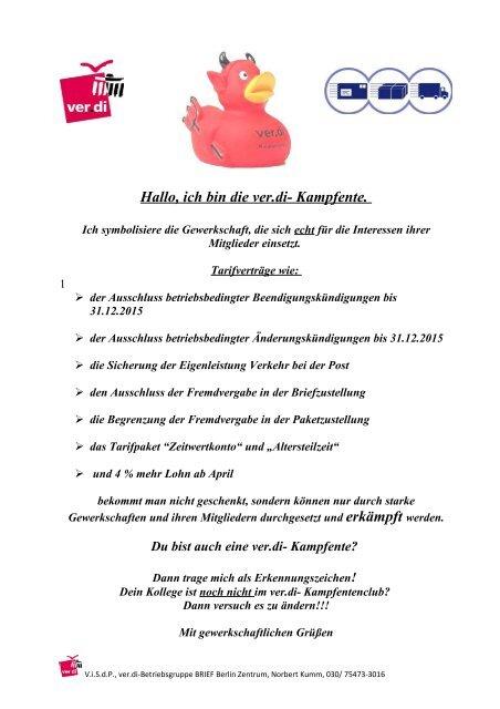 Hallo Ich Bin Die Verdi Kampfente Der Blitzer Online