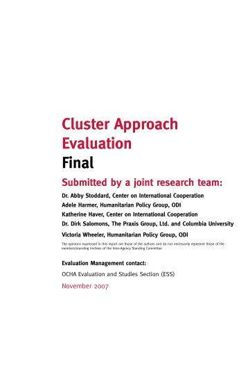 Cluster approach evaluation - Humanitarian Outcomes