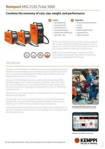 Kempact MIG 2530, Pulse 3000 - Rapid Welding and Industrial ...